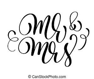 iscrizione, testo, sig., illustrazione, signora, fondo., vettore, mano, matrimonio, disegnato, bianco, calligrafia