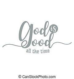 iscrizione, tutto, buono, cristiano, dio, tipografia, mano, ...