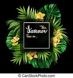 iscrizione, vacanza, poster., oro, estate, foglie, struttura, monstera, tropicale, fondo., nero, azzurramento, palma, fiori bianchi, bandiera, orchidee