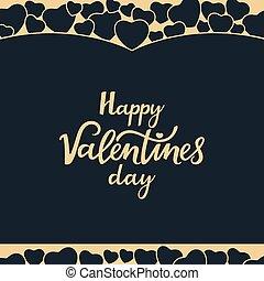 iscrizione, valentine, augurio, mano, day., disegnato, scheda