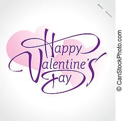 iscrizione, valentine, (vector), mano