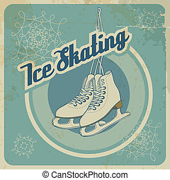 Ise skating retro card - Ise skating card in retro style...