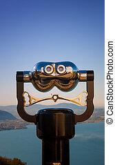 iseo, binocular, italia, observación, lago