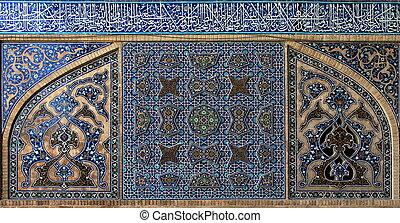 isfahan., irán, embaldosado, plano de fondo, mosque.