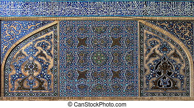 isfahan., iran, taflowy, tło, mosque.