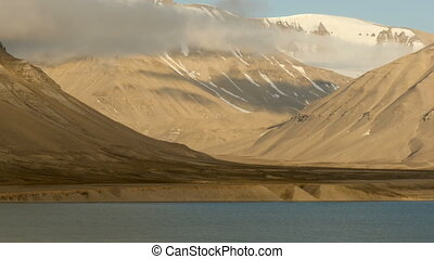 isfjord in svalbard summer 2017 showing the consequences of global warming