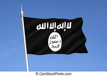 isis, -, isil, -, islámský, state flag