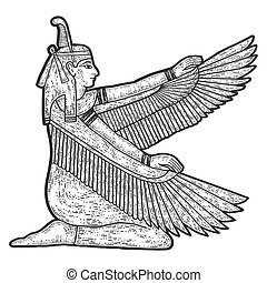 Isis, ancient Egyptian goddess. Seated woman with wings. Sketch scratch board imitation. Black and white. Engraving vector illustration.
