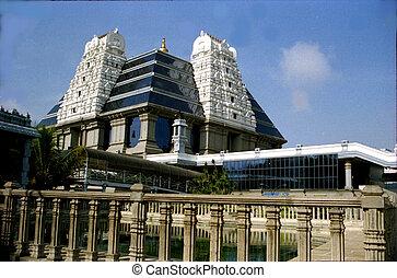 View of modern ISKCON Temple at Bengaluru in Karnataka, India, Asia