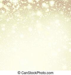 iskierki, złoty, zima, tło, -, światła, śnieg, boże ...