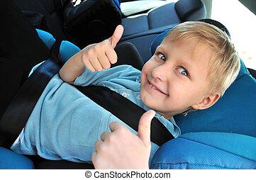 iskolásfiú, használ, gyermekek biztonság, ülés