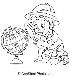 iskolásfiú, világ földgolyó