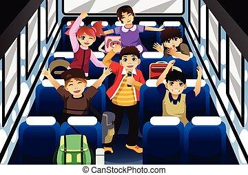 iskolások, éneklés, és, tánc, belső, a, iskolabusz