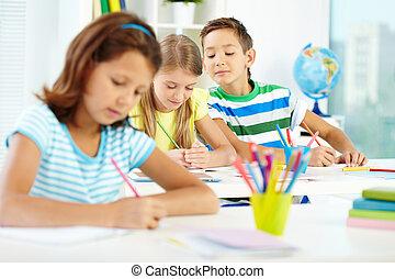 iskolások, rajz