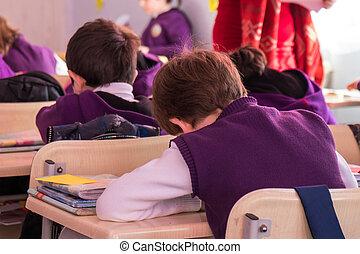 iskolások, vannak, hozzájárul, aktívan, alatt, class., oktatás
