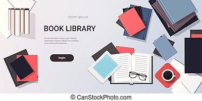 iskolakönyvek, íróasztal, kilátás, másol, horizontális, tető...