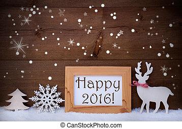 iskrzasty, ozdoba, śnieg, 2016, gwiazdy, biały, szczęśliwy