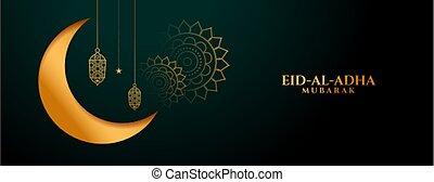 islámico, bandera, dorado, fiesta, al, eid, tradicional, adha, diseño