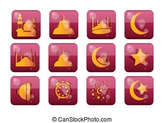islámico, conjunto, icono