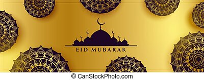 islámico, decoración, fiesta, dorado, bandera, eid