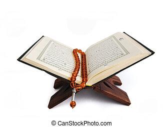 islámico, libro, aislado, santo, corán