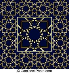 islámico, resumen, style., seamless, patrones