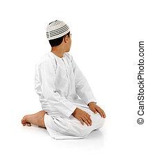 islámico, rogar, explicación, lleno, serie., árabe, niño,...