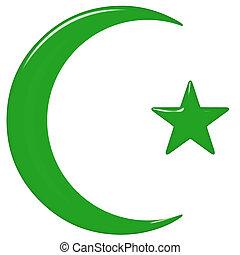 islámico, símbolo, 3d