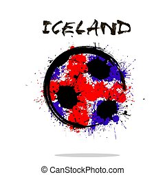 islândia, abstratos, bola, bandeira, futebol