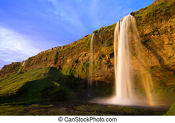Islândia, Cachoeira, pôr do sol,  seljalandfoss