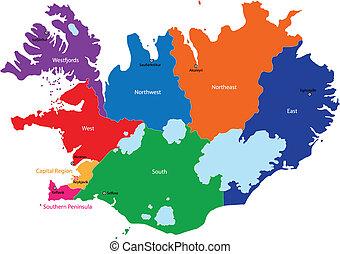 islândia, mapa