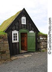 islândia, relvar, casa