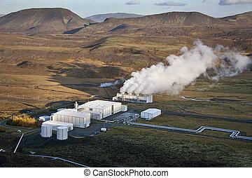 islândia, térmico, estação, geo, poder