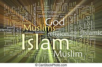 islão, palavra, nuvem, glowing