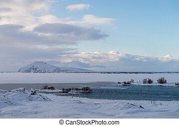 isländisch, winterlandschaft, unter, myvatn, see