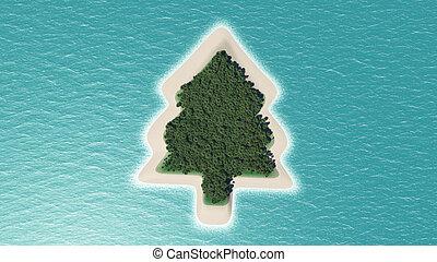 isla, árbol, navidad