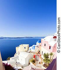 isla azul, escena, cúpula, griego, santorini, iglesias