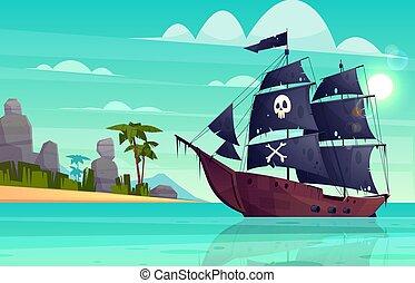 isla, bahía, caricatura, vector, barco, pirata