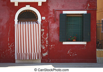 isla, burano, rojo, casa