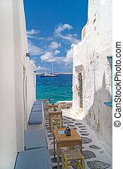 isla, callejón, tradicional, griego, sifnos, grecia