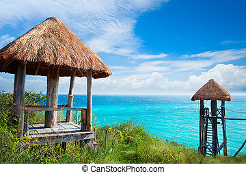 isla, caribe, sea., mujeres, méxico