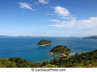 isla, cima, whitsundays., molle, australia, sur, vista