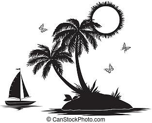 isla, con, palma, y, barco, siluetas