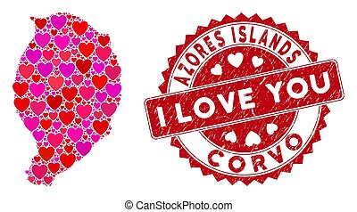 isla, corvo, estampilla, mosaico, amor, angustia, mapa, corazón