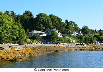 isla, costero, bustins, cabañas, maine