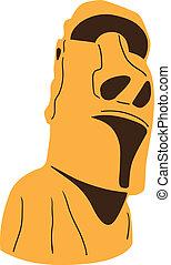 isla de pascua, estatua de moai, aislado, en, white.