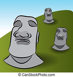 isla de pascua, estatuas