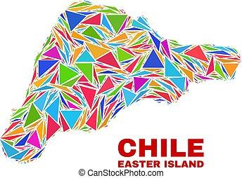 isla de pascua, mapa, -, mosaico, de, color, triángulos