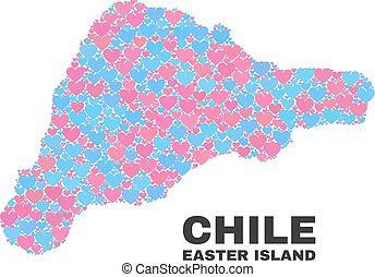 isla de pascua, mapa, -, mosaico, de, valentine, corazones