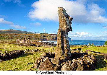 isla de pascua, moai, estatuas
